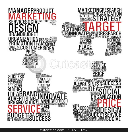 Marketing  jigsaw piece communication. stock vector clipart, Puzzle pieces with marketing concept words isolated over white background. Vector file layered for easy manipulation and custom coloring. by Cienpies Design