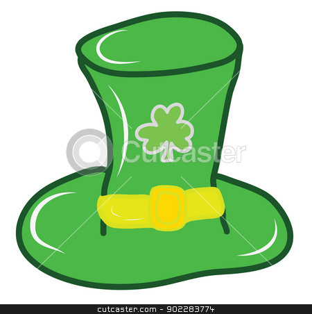 Clover leaf and hat stock vector clipart, Clover leaf and hat icon for St. Patrick day and Irich national day by Vichaya Kiatying-Angsulee