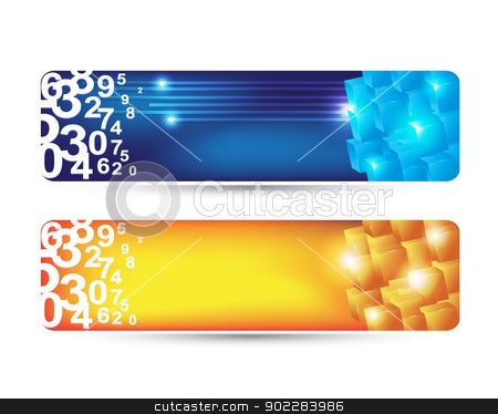 abstract banner stock vector clipart, Modern banners with numbers and cubes by byman designs
