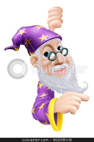 Friendly Wizard Pointing stock vector clipart, An illustration of a cute friendly old wizard character behind a sign or banner pointing a finger at it by Christos Georghiou