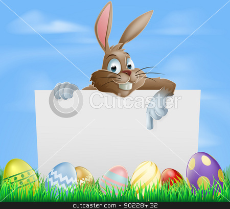 Chocolate Easter eggs sign stock vector clipart, Easter bunny pointing at blank sign with painted chocolate Easter eggs in green field by Christos Georghiou