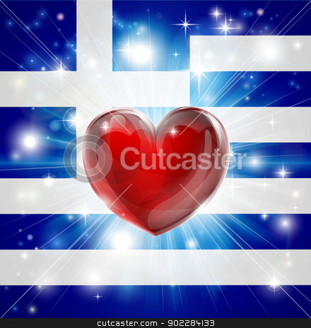 Love Greece flag heart background stock vector clipart, Flag of Greece patriotic background with pyrotechnic or light burst and love heart in the centre by Christos Georghiou