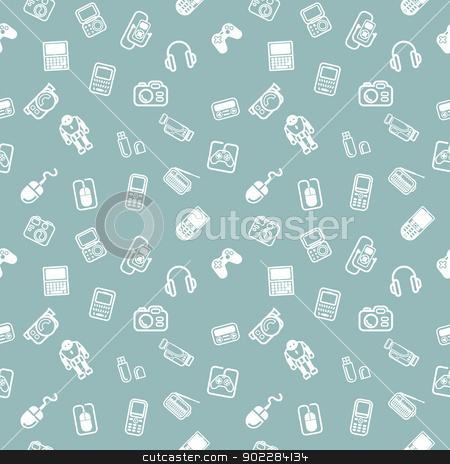 Seamless gadgets background texture stock vector clipart, A repeating seamless gadgets and technology background tile texture with lots of different tech and gadget icons by Christos Georghiou