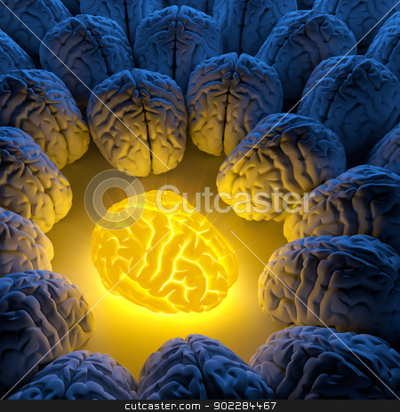 The concept of a unique intelligence stock photo, The concept of a unique intelligence and original idea - a brain emits luminous energy, and ordinary brains gathered around by Antartis