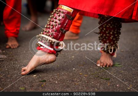 Hindu devotee stock photo, Close up of a devotee's leg at Thaipusam event celebrating Lord Murugan, Batu Caves, Kuala Lumpur, Malaysia by szefei