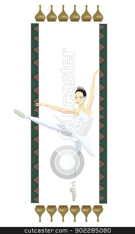 Ballerina  stock vector clipart, Ornamental frame illustration with russian ballerina, isolated on white by dayzeren
