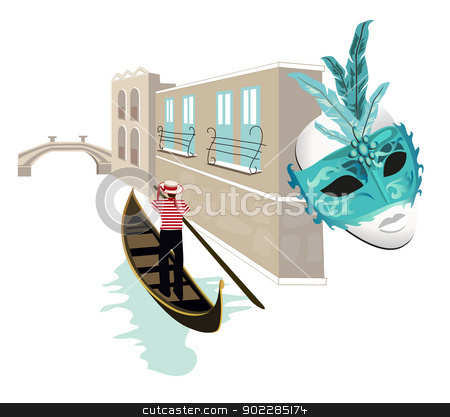 Symbols of Venice stock vector clipart, Venice canal view with a gondolier on his gondola and a mask by dayzeren