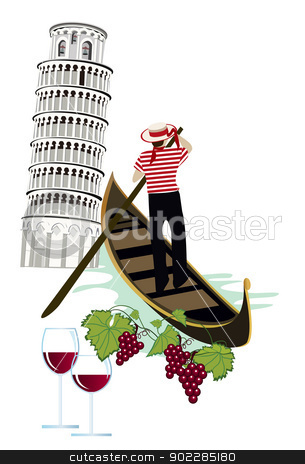 Italy stock vector clipart, Symbols of Italy as Pisa tower, wine and gondola by dayzeren