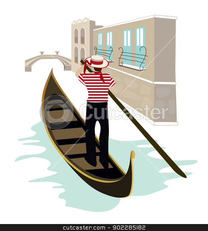 Venice stock vector clipart, Venice canal view with a gondolier on his gondola  by dayzeren