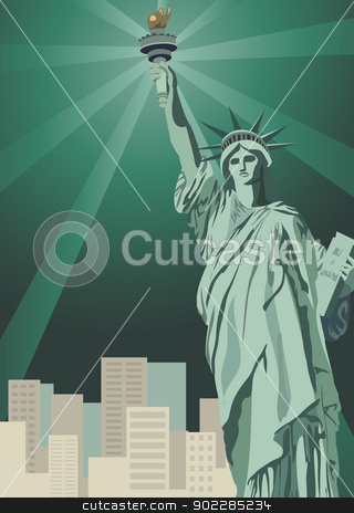 New York City stock vector clipart, Background illustration with Statue of Liberty and New York skyscrapers   by dayzeren