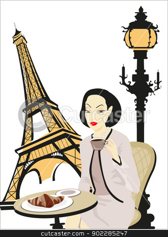 Paris stock vector clipart, Illustration of a woman in a cafe in Paris by dayzeren