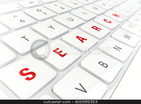 Search word written on modern shiny white keyboard stock photo, Search word written on modern shiny white keyboard, internet concept. by Mehmet Şensoy