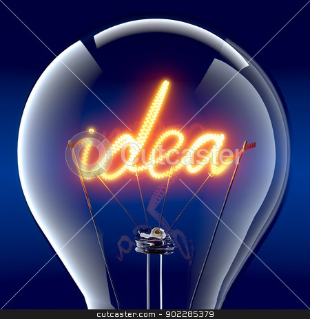 The word idea light bulb inside stock photo, Tungsten spiral in the form of the word