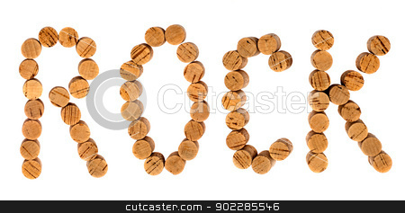 Rock stock photo, The word rock written with wine bottles corks isolated on white background by borojoint