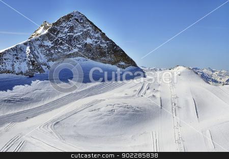 Ski runs on slopes of Hintertux Glacier stock photo, Hintertux Glacier in Zillertal Alps in Austria with ski runs, pistes and ski lifts. by Krzysztof Nahlik