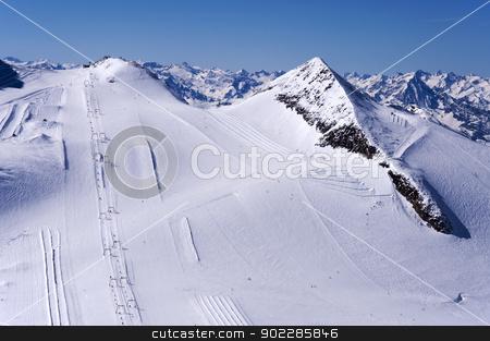 Ski Runs on Hintertux Glacier stock photo, Skiers, ski lifts, runs and pistes on Hintertux Glacier in Zillertal Alps in Austria. by Krzysztof Nahlik