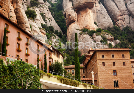 Monestir Monastery of Montserrat Barcelona, Catalonia, Spain stock photo, Monestir Monastery of Montserrat, Barcelona, Catalonia, Spain.  Founded in the 9th Century, destroyed in 1811 when French invaded Spain. Rebuilt in 1844 and now a Benedictine Monastery.  Placa de Santa Maria Replace photo 902142954 with this photo,  Person's face in bottom of photo. by William Perry