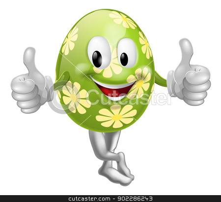 Thumbs Up Cartoon Easter Egg Man stock vector clipart, An illustration of a happy fun cartoon Easter egg mascot character doing a thumbs up  by Christos Georghiou