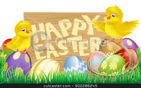 Isolated Easter Sign stock vector clipart, An Easter holiday sign that says Happy Easter with a basket full of Easter eggs and cute cartoon birds by Christos Georghiou