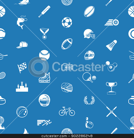 Seamless sport background texture stock vector clipart, A repeating seamless sport background tile texture with lots of drawings of different sports icons by Christos Georghiou