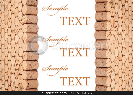 Wine cork background stock photo, Background pattern of wine bottles corks with room for text by borojoint