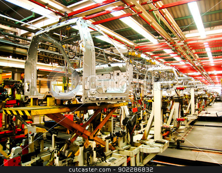 Cab body welding assembly line1 stock photo, Cab body welding assembly line1 by Gjee