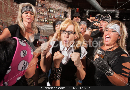 Nerd with Hostile Biker in Bar stock photo, Motorcycle gang members force a fight with nerd in bar by Scott Griessel