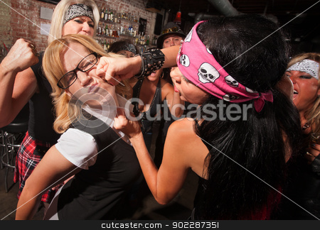 Nerd Attacked By Gang stock photo, Female nerd with eyeglasses punched in fight with gang by Scott Griessel