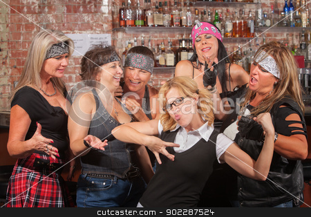 Nerd Showing Off For Female Gang stock photo, Nerd flexes muscles for tough female gang in bar by Scott Griessel