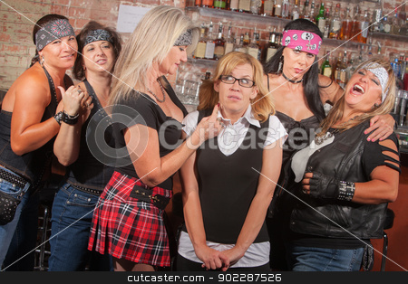 Scared Nerd with Biker Gang stock photo, Scared young woman with group of big female biker gang members by Scott Griessel