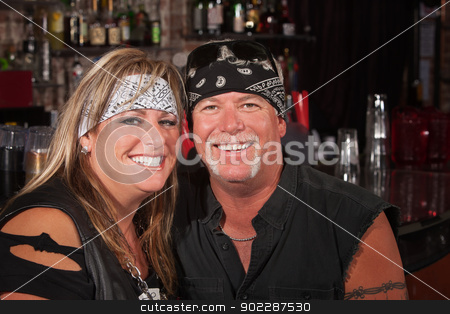 Adorable Motorcycle Rider Couple stock photo, Adorable mature couple in motorcycle rider clothing by Scott Griessel