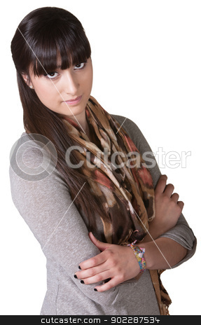 Lady with Folded Arms stock photo, Serious young Hispanic female with folded arms over white by Scott Griessel