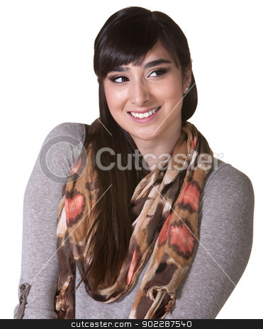 Cute Woman Looking Over stock photo, Cute young woman with hunched shoulders looking over by Scott Griessel