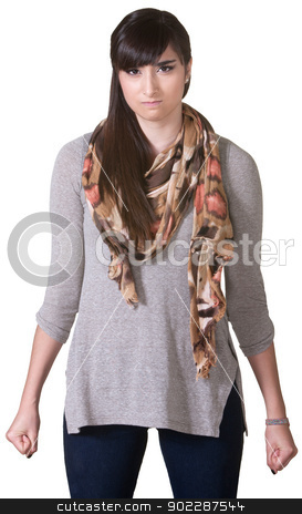 Furious Hispanic Lady stock photo, Furious Hispanic female with clenched fists over white background by Scott Griessel