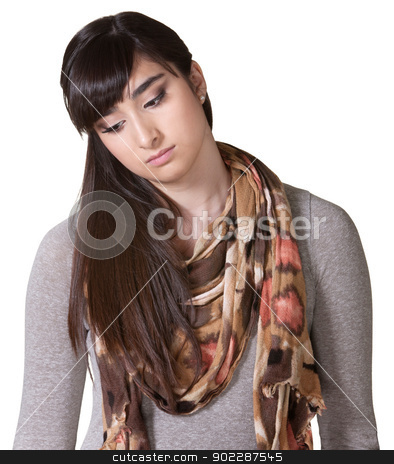 Sad Woman Looking Down stock photo, Sad young woman in scarf looking down by Scott Griessel