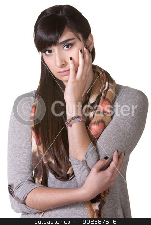 Depressed Young Woman stock photo, Depressed young woman with face in hands by Scott Griessel