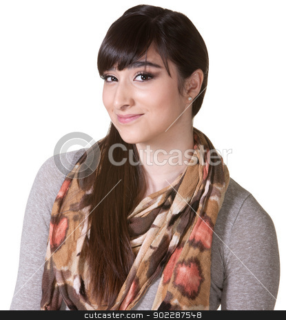 Pretty Hipster Grinning stock photo, Pretty Hipster with grin over white background by Scott Griessel