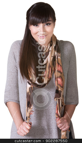 Cheerful Woman Pulling On Scarf stock photo, Cheerful Native American woman pulling on scarf by Scott Griessel