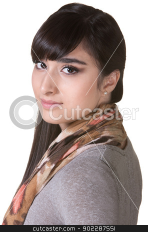 Calm Young Woman stock photo, Calm Hispanic lady over isolated background by Scott Griessel