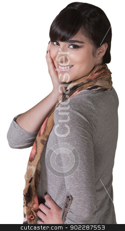 Smiling Woman with Hand on Cheek stock photo, Smiling young Hispanic female with hand on cheek by Scott Griessel