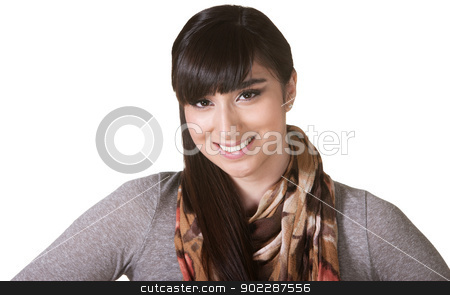 Cute Hispanic Female stock photo, Cute young Hispanic female with smile and scarf by Scott Griessel