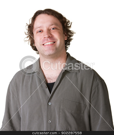 Smiling Man on White Background stock photo, Young European smiling man over white background by Scott Griessel