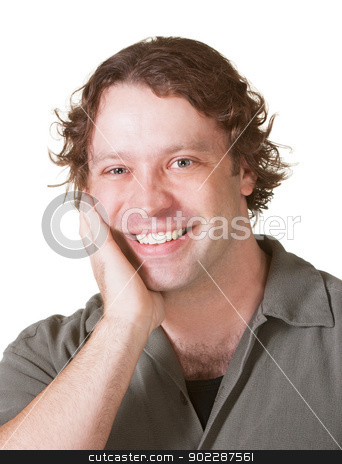 Cheerful Male Over White stock photo, Cheerful European male with hand on face by Scott Griessel