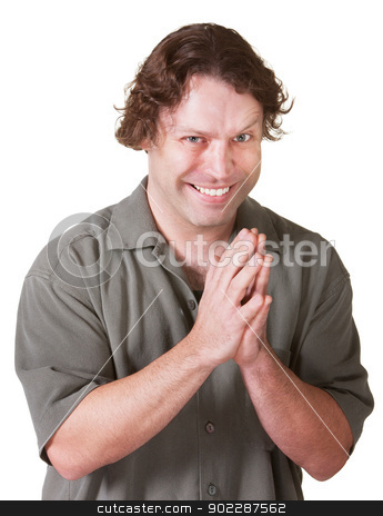 Man with Evil Grin stock photo, Man over white background with hands together and evil grin by Scott Griessel