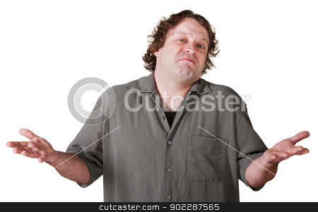Indifferent Young Man stock photo, Indifferent young man with palms up over white background by Scott Griessel