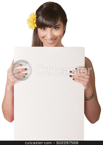 Pretty Lady Holding Poster stock photo, Pretty Mexican young woman behind blank poster on isolated background by Scott Griessel