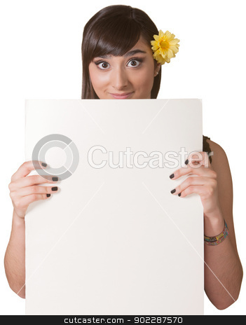 Lady Holding Blank Sign stock photo, Smiling young woman holding a blank sign by Scott Griessel