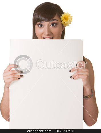Woman Holding Blank Poster stock photo, Surprised Native American woman holding a blank poster by Scott Griessel
