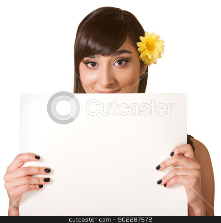 Cute Female Holding Poster stock photo, Cute woman behind blank poster on isolated background by Scott Griessel