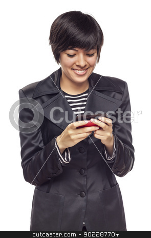 Expressive Mixed Race Woman with Cell Phone on White stock photo, Attractive and Expressive Mixed Race Woman with Cell Phone Isolated on a White Background. by Andy Dean